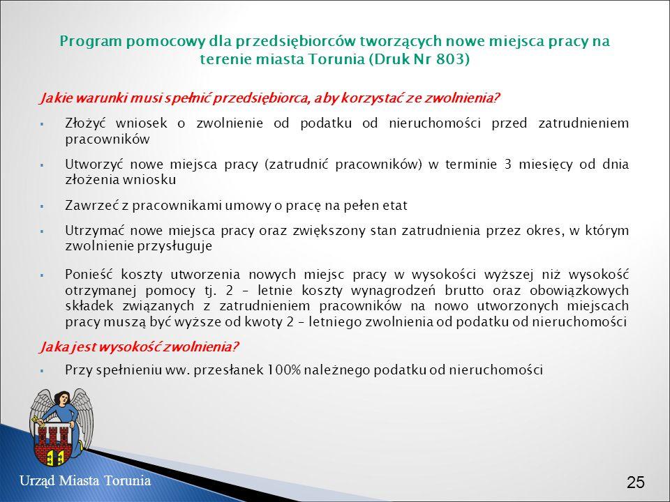 Program pomocowy dla przedsiębiorców tworzących nowe miejsca pracy na terenie miasta Torunia (Druk Nr 803) Jakie warunki musi spełnić przedsiębiorca,