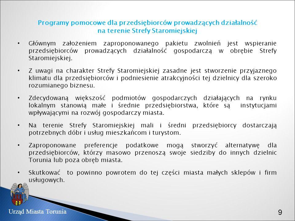 Programy pomocowe dla przedsiębiorców prowadzących działalność na terenie Strefy Staromiejskiej Głównym założeniem zaproponowanego pakietu zwolnień je