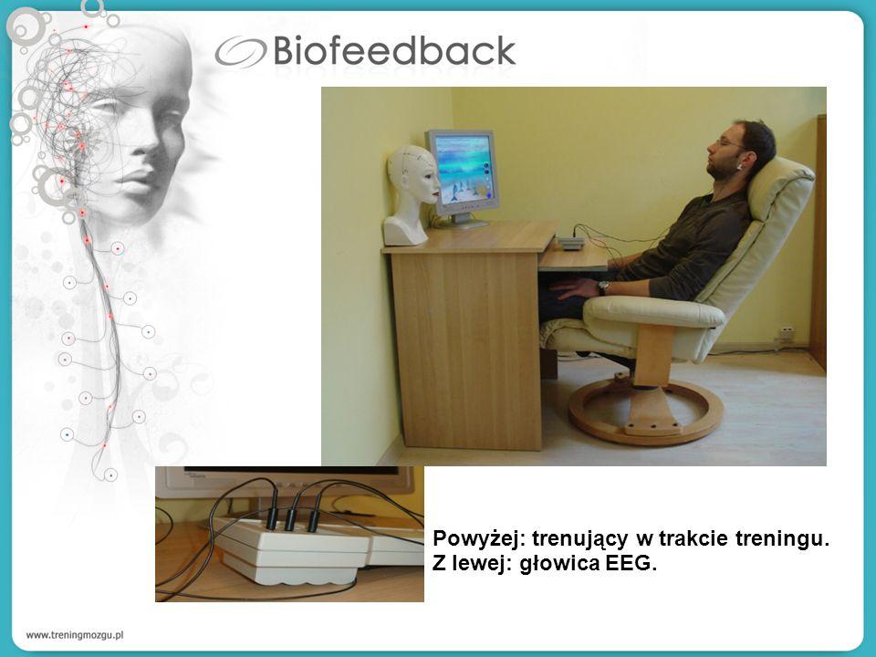 Powyżej: trenujący w trakcie treningu. Z lewej: głowica EEG.