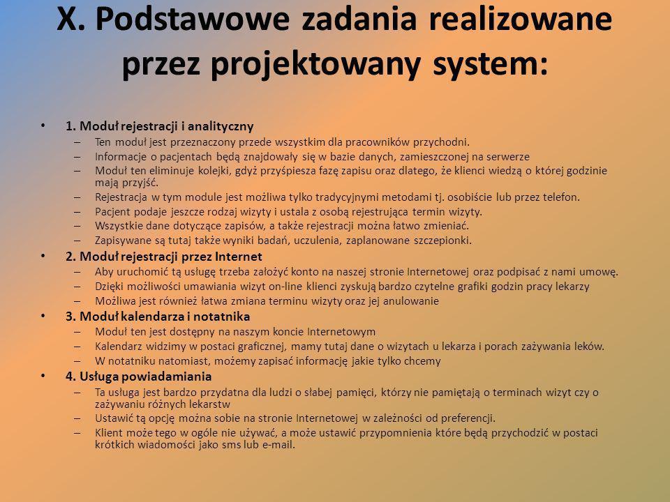 X. Podstawowe zadania realizowane przez projektowany system: 1. Moduł rejestracji i analityczny – Ten moduł jest przeznaczony przede wszystkim dla pra
