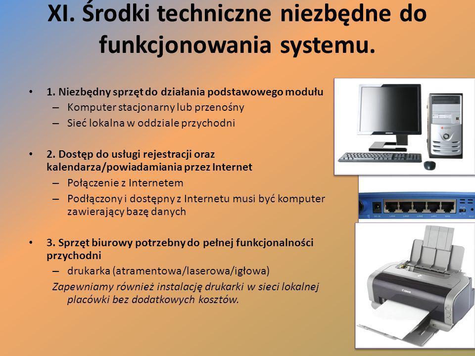 XI. Środki techniczne niezbędne do funkcjonowania systemu. 1. Niezbędny sprzęt do działania podstawowego modułu – Komputer stacjonarny lub przenośny –