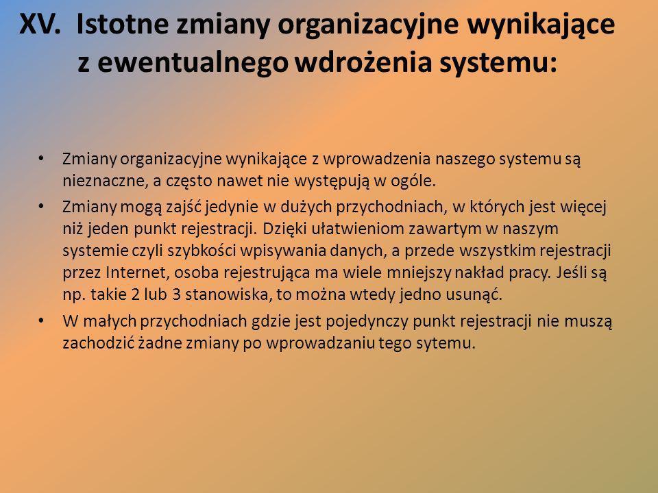 XV. Istotne zmiany organizacyjne wynikające z ewentualnego wdrożenia systemu: Zmiany organizacyjne wynikające z wprowadzenia naszego systemu są niezna