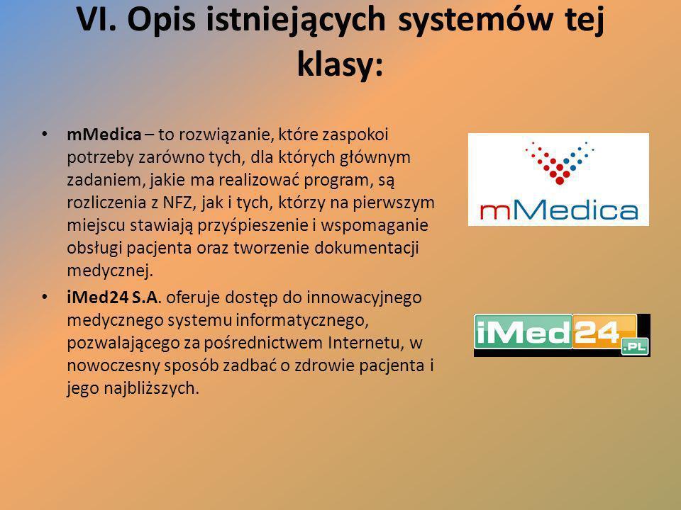 VI. Opis istniejących systemów tej klasy: mMedica – to rozwiązanie, które zaspokoi potrzeby zarówno tych, dla których głównym zadaniem, jakie ma reali