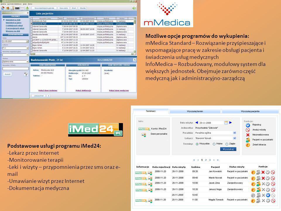 Podstawowe usługi programu iMed24: -Lekarz przez Internet -Monitorowanie terapii -Leki i wizyty – przypomnienia przez sms oraz e- mail -Umawianie wizy