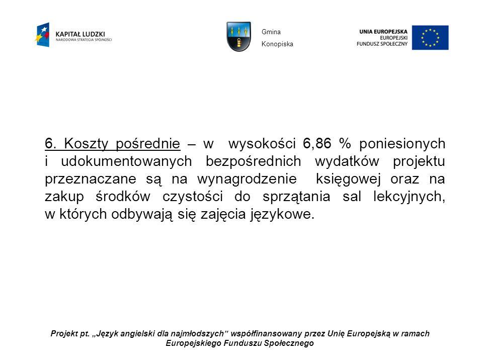 Projekt pt. Język angielski dla najmłodszych współfinansowany przez Unię Europejską w ramach Europejskiego Funduszu Społecznego Gmina Konopiska 6. Kos