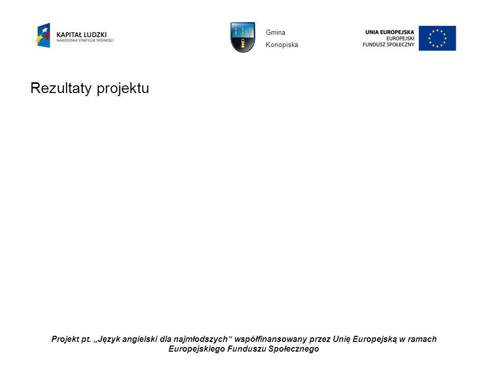 Projekt pt. Język angielski dla najmłodszych współfinansowany przez Unię Europejską w ramach Europejskiego Funduszu Społecznego Rezultaty projektu Gmi