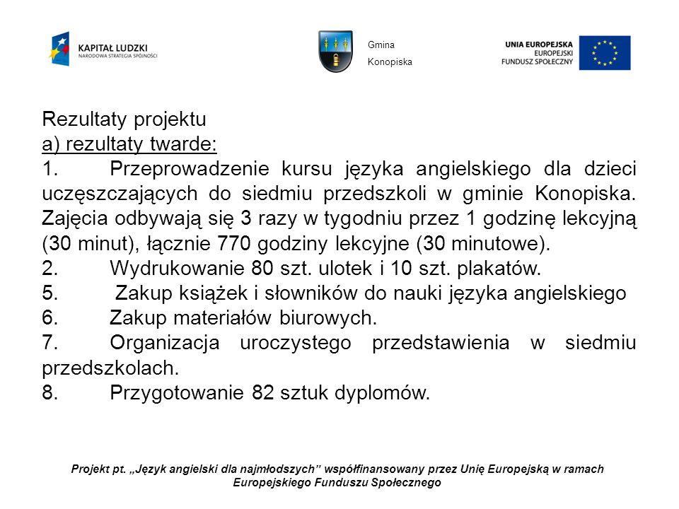 Projekt pt. Język angielski dla najmłodszych współfinansowany przez Unię Europejską w ramach Europejskiego Funduszu Społecznego Rezultaty projektu a)