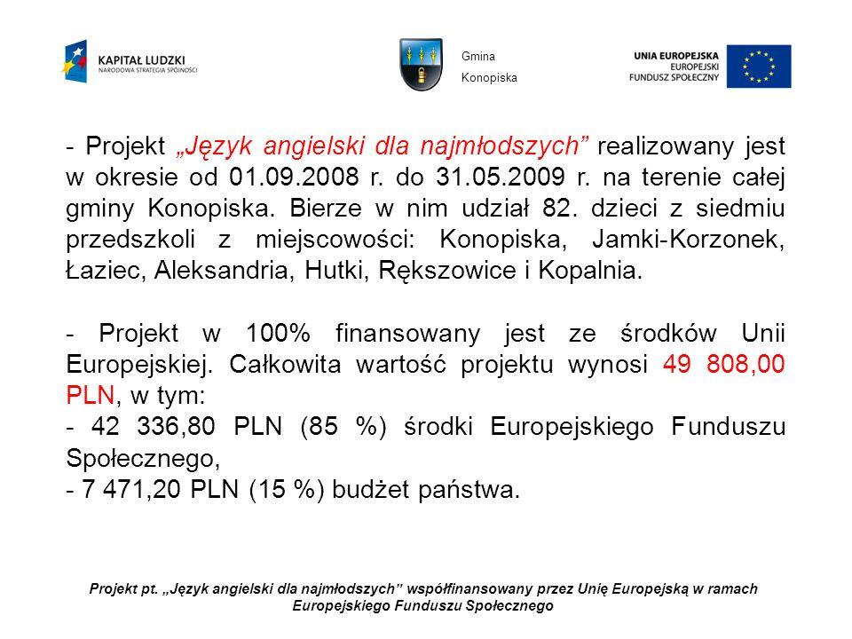 Projekt pt. Język angielski dla najmłodszych współfinansowany przez Unię Europejską w ramach Europejskiego Funduszu Społecznego - Projekt Język angiel