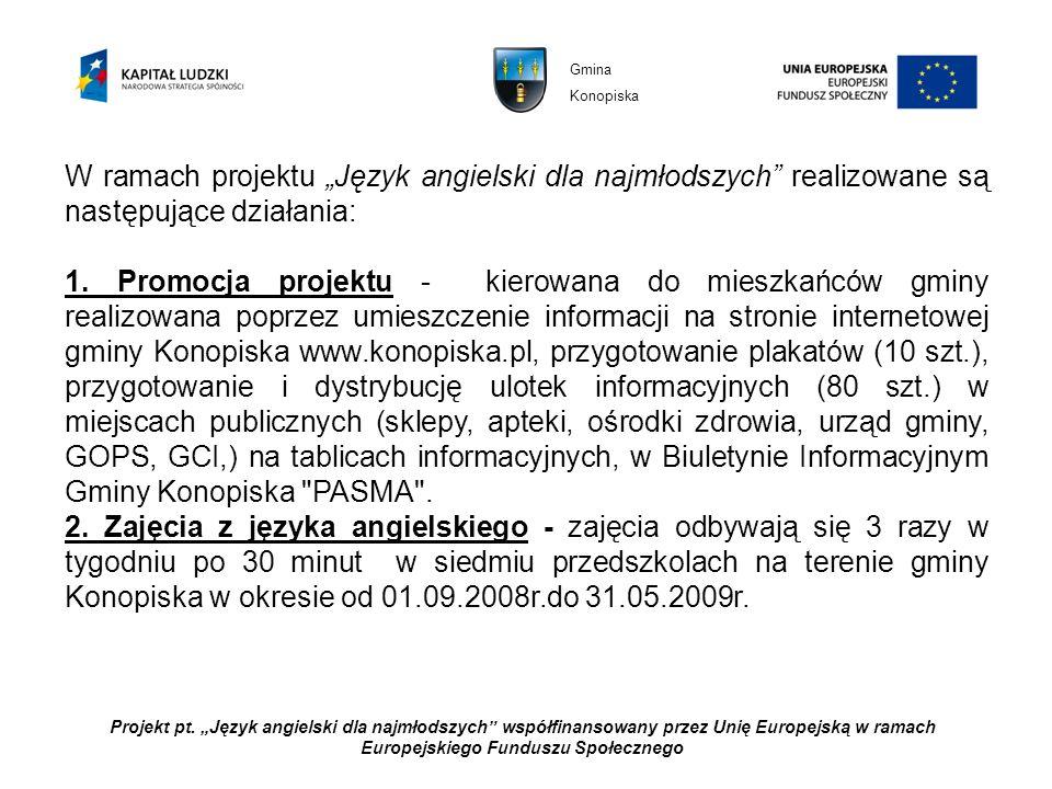 Projekt pt. Język angielski dla najmłodszych współfinansowany przez Unię Europejską w ramach Europejskiego Funduszu Społecznego W ramach projektu Języ