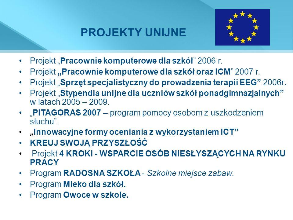 PROJEKTY UNIJNE Projekt Pracownie komputerowe dla szkół 2006 r. Projekt Pracownie komputerowe dla szkół oraz ICM 2007 r. Projekt Sprzęt specjalistyczn