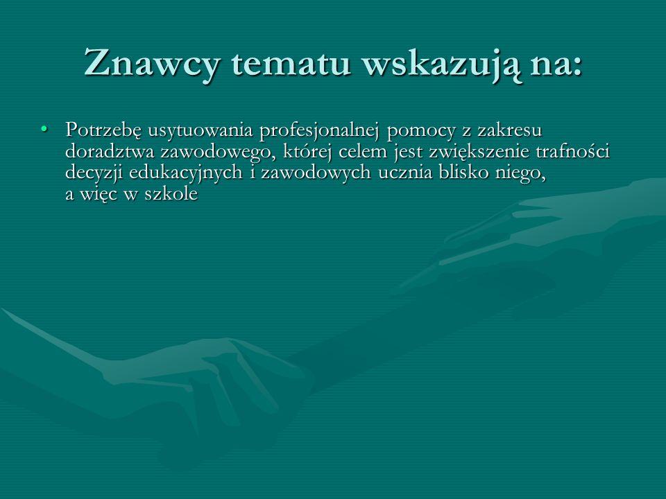Znawcy tematu wskazują na: Potrzebę usytuowania profesjonalnej pomocy z zakresu doradztwa zawodowego, której celem jest zwiększenie trafności decyzji edukacyjnych i zawodowych ucznia blisko niego, a więc w szkolePotrzebę usytuowania profesjonalnej pomocy z zakresu doradztwa zawodowego, której celem jest zwiększenie trafności decyzji edukacyjnych i zawodowych ucznia blisko niego, a więc w szkole Potrzebę dostosowania rozwiązań polskich do standardów pozostałych krajów UEPotrzebę dostosowania rozwiązań polskich do standardów pozostałych krajów UE