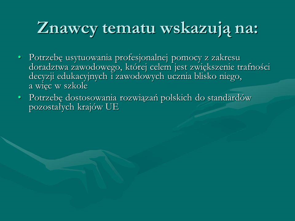 Znawcy tematu wskazują na: Potrzebę usytuowania profesjonalnej pomocy z zakresu doradztwa zawodowego, której celem jest zwiększenie trafności decyzji edukacyjnych i zawodowych ucznia blisko niego, a więc w szkolePotrzebę usytuowania profesjonalnej pomocy z zakresu doradztwa zawodowego, której celem jest zwiększenie trafności decyzji edukacyjnych i zawodowych ucznia blisko niego, a więc w szkole Potrzebę dostosowania rozwiązań polskich do standardów pozostałych krajów UEPotrzebę dostosowania rozwiązań polskich do standardów pozostałych krajów UE Potrzebę udzielania uczniom pomocy w wyborze i selekcji informacji dotyczących instytucji kształceniowych i rynku pracy zgodnie z planowanym przez nich kierunkiem rozwoju zawodowegoPotrzebę udzielania uczniom pomocy w wyborze i selekcji informacji dotyczących instytucji kształceniowych i rynku pracy zgodnie z planowanym przez nich kierunkiem rozwoju zawodowego