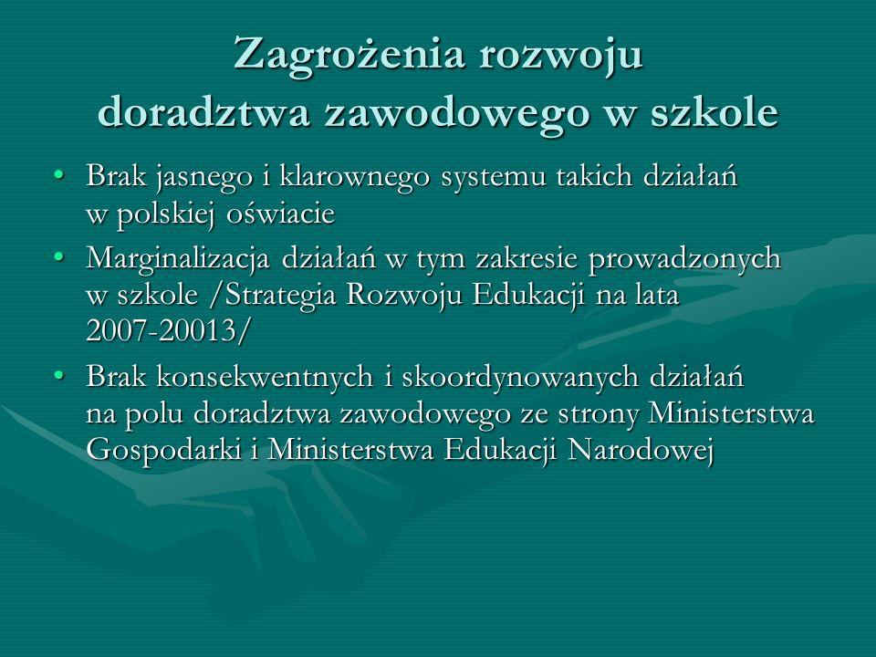 Zagrożenia rozwoju doradztwa zawodowego w szkole Brak jasnego i klarownego systemu takich działań w polskiej oświacieBrak jasnego i klarownego systemu