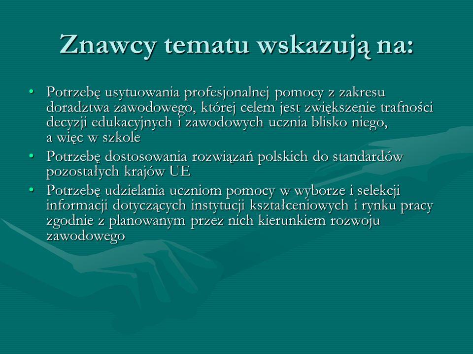 Znawcy tematu wskazują na: Potrzebę usytuowania profesjonalnej pomocy z zakresu doradztwa zawodowego, której celem jest zwiększenie trafności decyzji edukacyjnych i zawodowych ucznia blisko niego, a więc w szkolePotrzebę usytuowania profesjonalnej pomocy z zakresu doradztwa zawodowego, której celem jest zwiększenie trafności decyzji edukacyjnych i zawodowych ucznia blisko niego, a więc w szkole Potrzebę dostosowania rozwiązań polskich do standardów pozostałych krajów UEPotrzebę dostosowania rozwiązań polskich do standardów pozostałych krajów UE Potrzebę udzielania uczniom pomocy w wyborze i selekcji informacji dotyczących instytucji kształceniowych i rynku pracy zgodnie z planowanym przez nich kierunkiem rozwoju zawodowegoPotrzebę udzielania uczniom pomocy w wyborze i selekcji informacji dotyczących instytucji kształceniowych i rynku pracy zgodnie z planowanym przez nich kierunkiem rozwoju zawodowego Potrzebę działań w zakresie planowania wspólnie z uczniem jego kariery zawodowejPotrzebę działań w zakresie planowania wspólnie z uczniem jego kariery zawodowej