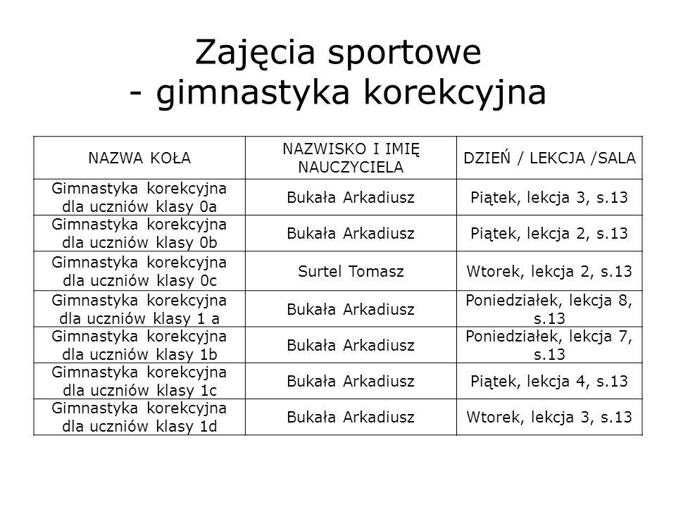 Zajęcia sportowe - gimnastyka korekcyjna NAZWA KOŁA NAZWISKO I IMIĘ NAUCZYCIELA DZIEŃ / LEKCJA /SALA Gimnastyka korekcyjna dla uczniów klasy 0a Bukała