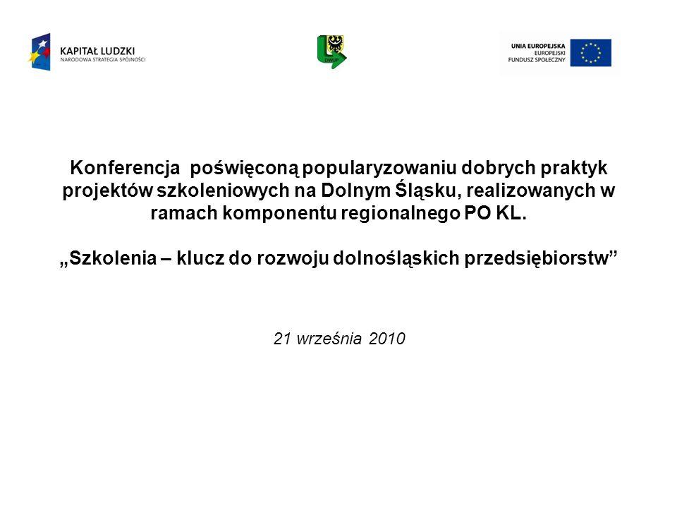 Konferencja poświęconą popularyzowaniu dobrych praktyk projektów szkoleniowych na Dolnym Śląsku, realizowanych w ramach komponentu regionalnego PO KL.