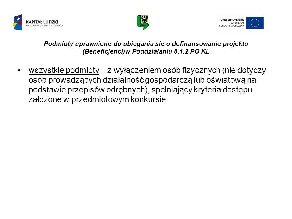 Podmioty uprawnione do ubiegania się o dofinansowanie projektu (Beneficjenci)w Poddziałaniu 8.1.2 PO KL wszystkie podmioty – z wyłączeniem osób fizycz