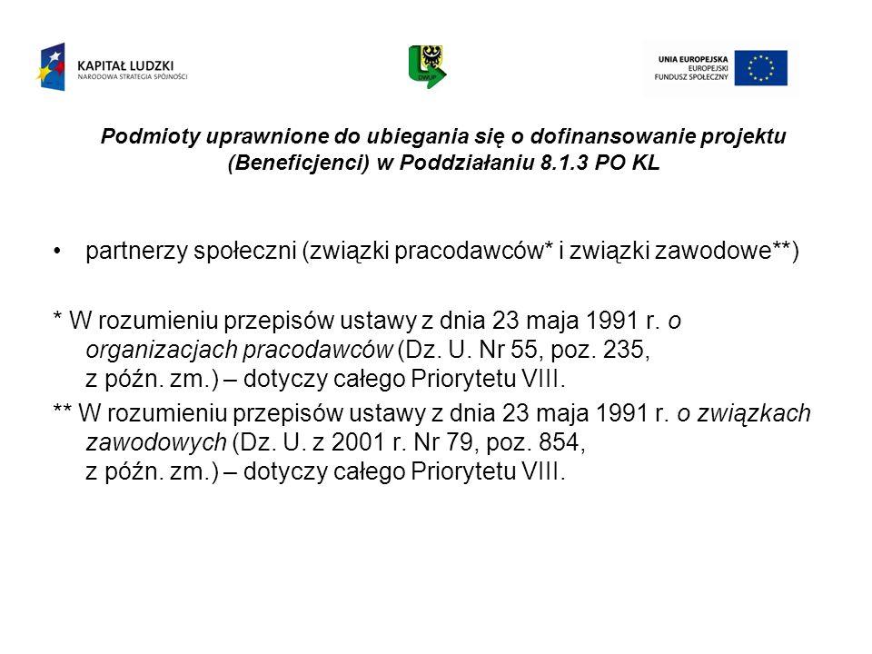 Podmioty uprawnione do ubiegania się o dofinansowanie projektu (Beneficjenci) w Poddziałaniu 8.1.3 PO KL partnerzy społeczni (związki pracodawców* i z