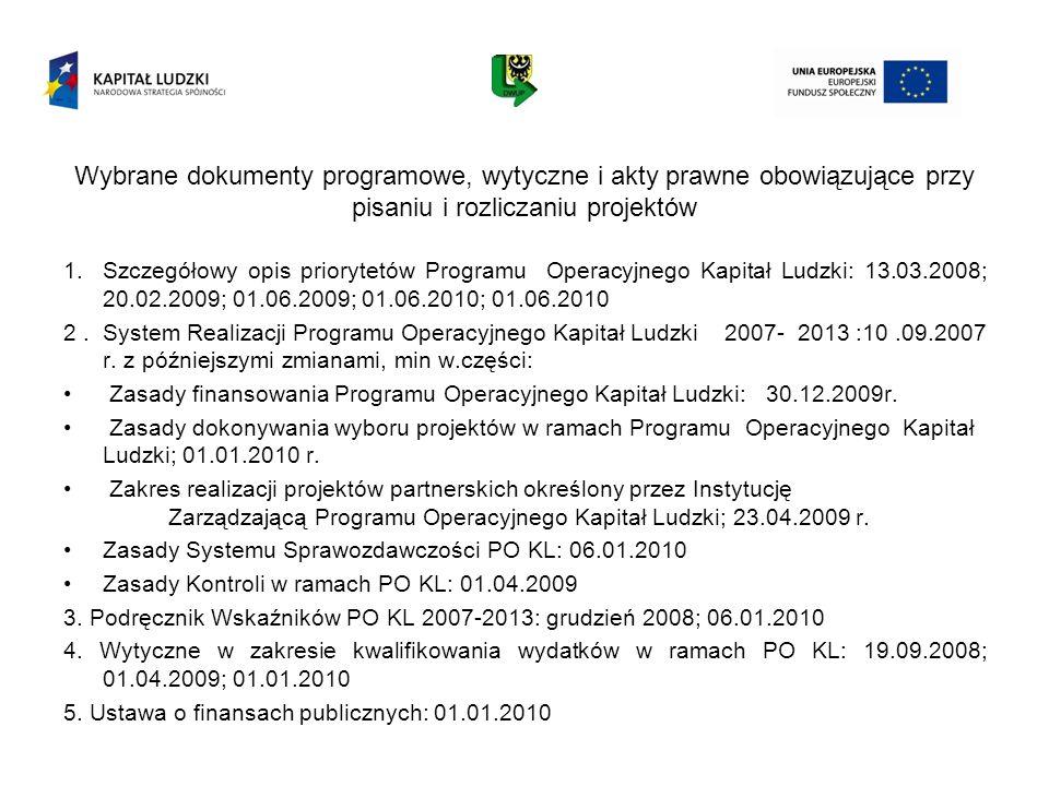 Wybrane dokumenty programowe, wytyczne i akty prawne obowiązujące przy pisaniu i rozliczaniu projektów 1.Szczegółowy opis priorytetów Programu Operacy
