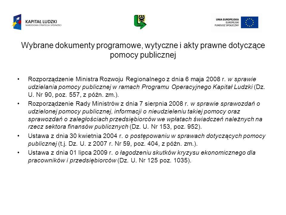 Wybrane dokumenty programowe, wytyczne i akty prawne dotyczące pomocy publicznej Rozporządzenie Ministra Rozwoju Regionalnego z dnia 6 maja 2008 r. w