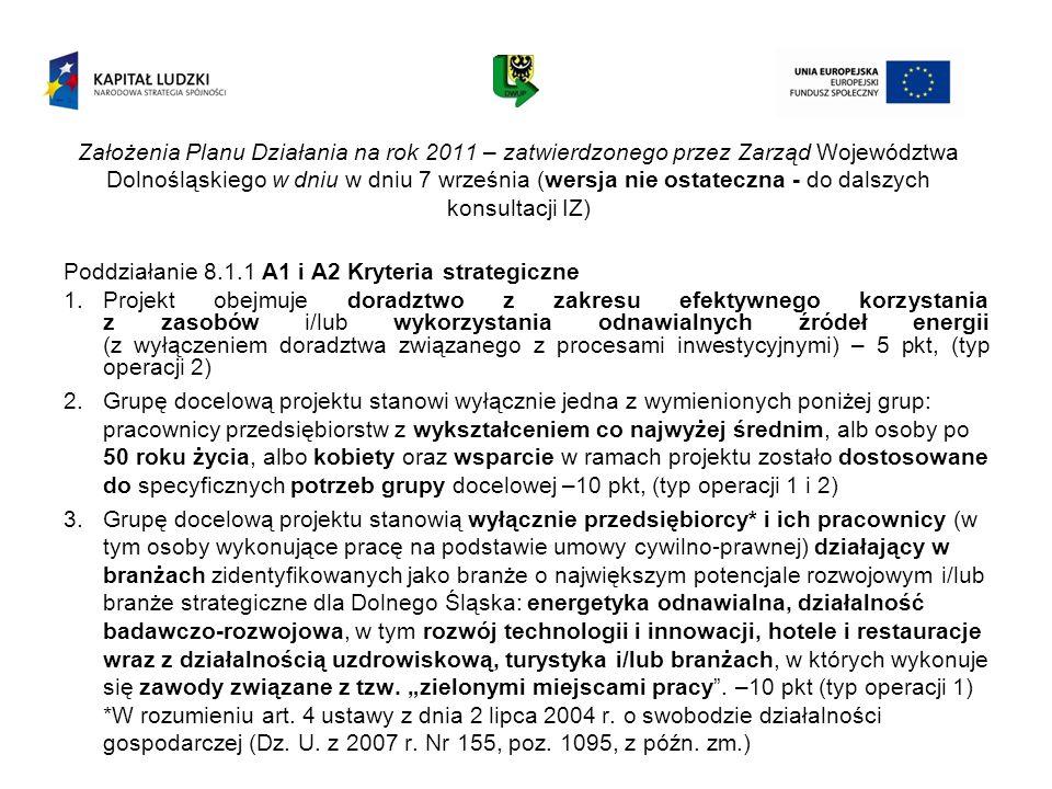 Założenia Planu Działania na rok 2011 – zatwierdzonego przez Zarząd Województwa Dolnośląskiego w dniu w dniu 7 września (wersja nie ostateczna - do da