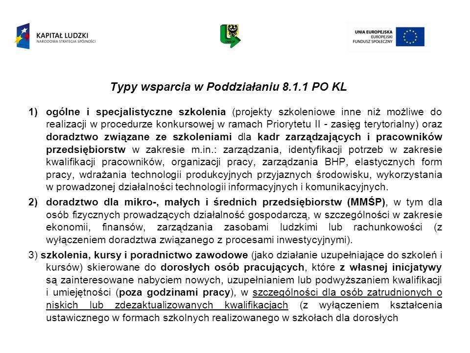 Typy wsparcia w Poddziałaniu 8.1.1 PO KL 1)ogólne i specjalistyczne szkolenia (projekty szkoleniowe inne niż możliwe do realizacji w procedurze konkur