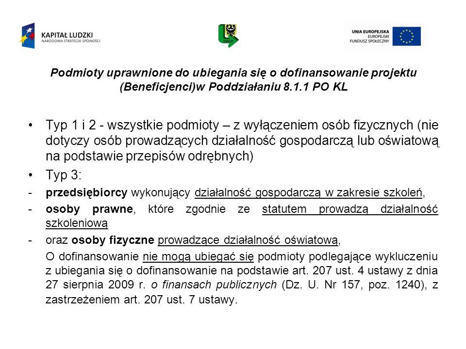 Podmioty uprawnione do ubiegania się o dofinansowanie projektu (Beneficjenci)w Poddziałaniu 8.1.1 PO KL Typ 1 i 2 - wszystkie podmioty – z wyłączeniem