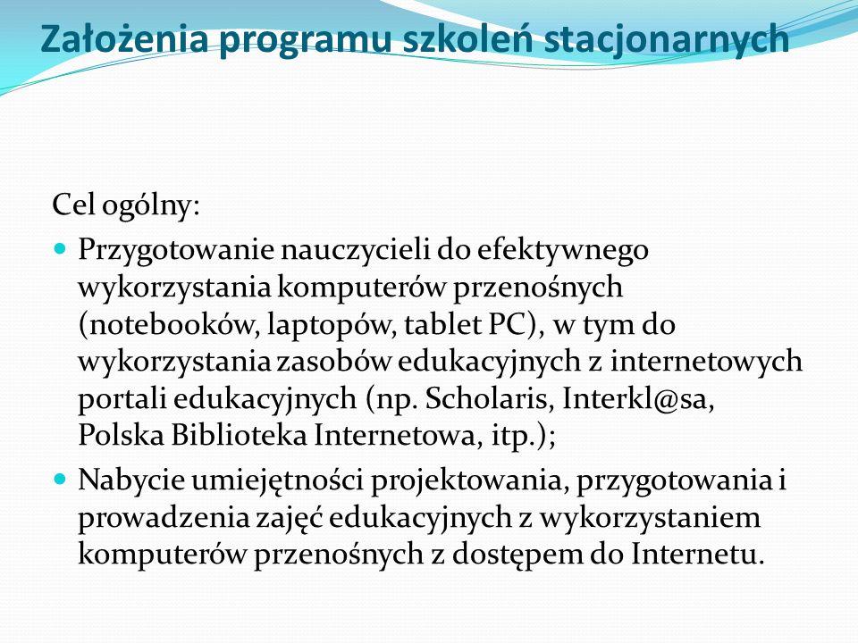 Założenia programu szkoleń stacjonarnych Cel ogólny: Przygotowanie nauczycieli do efektywnego wykorzystania komputerów przenośnych (notebooków, laptop