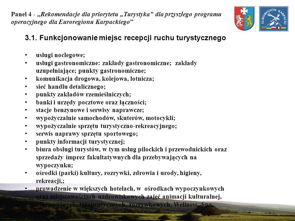 Panel 4 - Rekomendacje dla priorytetu Turystyka dla przyszłego programu operacyjnego dla Euroregionu Karpackiego 3.1. Funkcjonowanie miejsc recepcji r