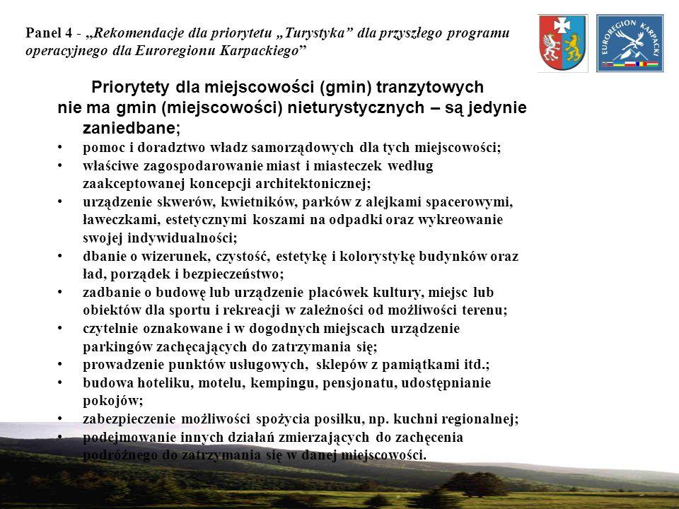Panel 4 - Rekomendacje dla priorytetu Turystyka dla przyszłego programu operacyjnego dla Euroregionu Karpackiego Priorytety dla miejscowości (gmin) tr