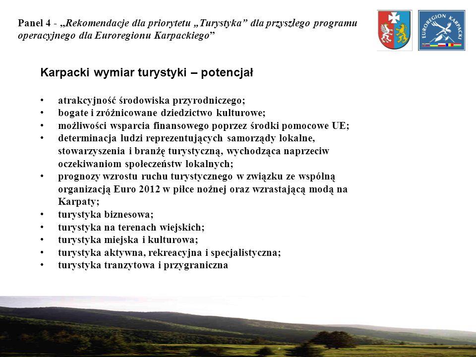 Panel 4 - Rekomendacje dla priorytetu Turystyka dla przyszłego programu operacyjnego dla Euroregionu Karpackiego Karpacki wymiar turystyki – potencjał