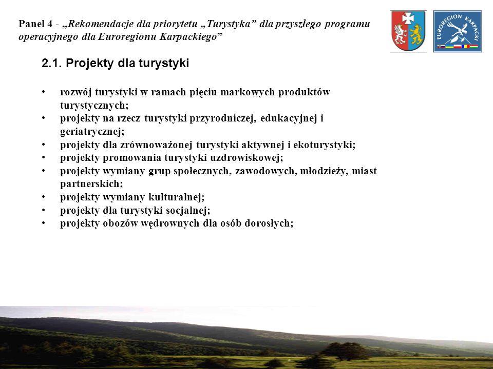 Panel 4 - Rekomendacje dla priorytetu Turystyka dla przyszłego programu operacyjnego dla Euroregionu Karpackiego 2.1. Projekty dla turystyki rozwój tu