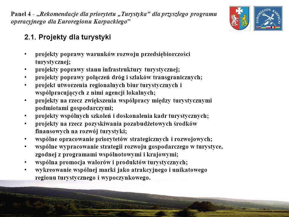 Panel 4 - Rekomendacje dla priorytetu Turystyka dla przyszłego programu operacyjnego dla Euroregionu Karpackiego 2.1. Projekty dla turystyki projekty