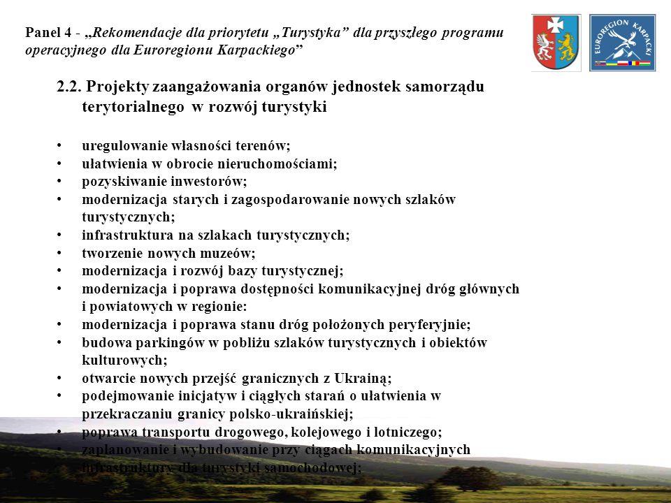 Panel 4 - Rekomendacje dla priorytetu Turystyka dla przyszłego programu operacyjnego dla Euroregionu Karpackiego 2.2. Projekty zaangażowania organów j