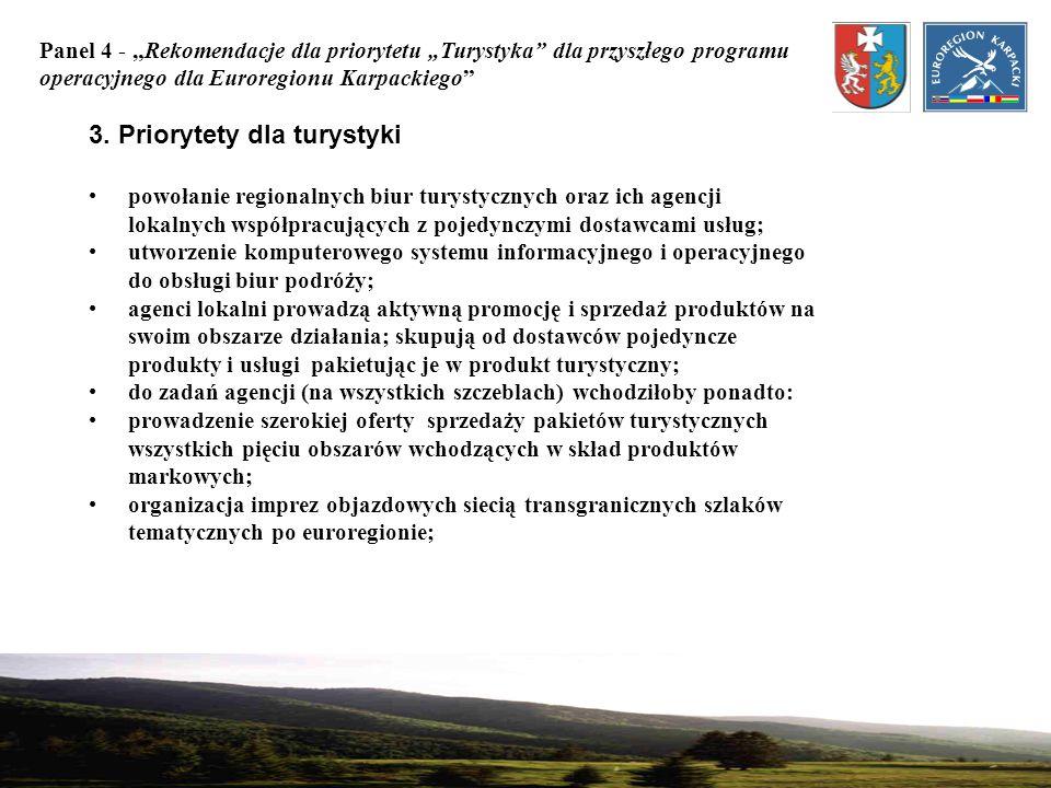 Panel 4 - Rekomendacje dla priorytetu Turystyka dla przyszłego programu operacyjnego dla Euroregionu Karpackiego 3. Priorytety dla turystyki powołanie