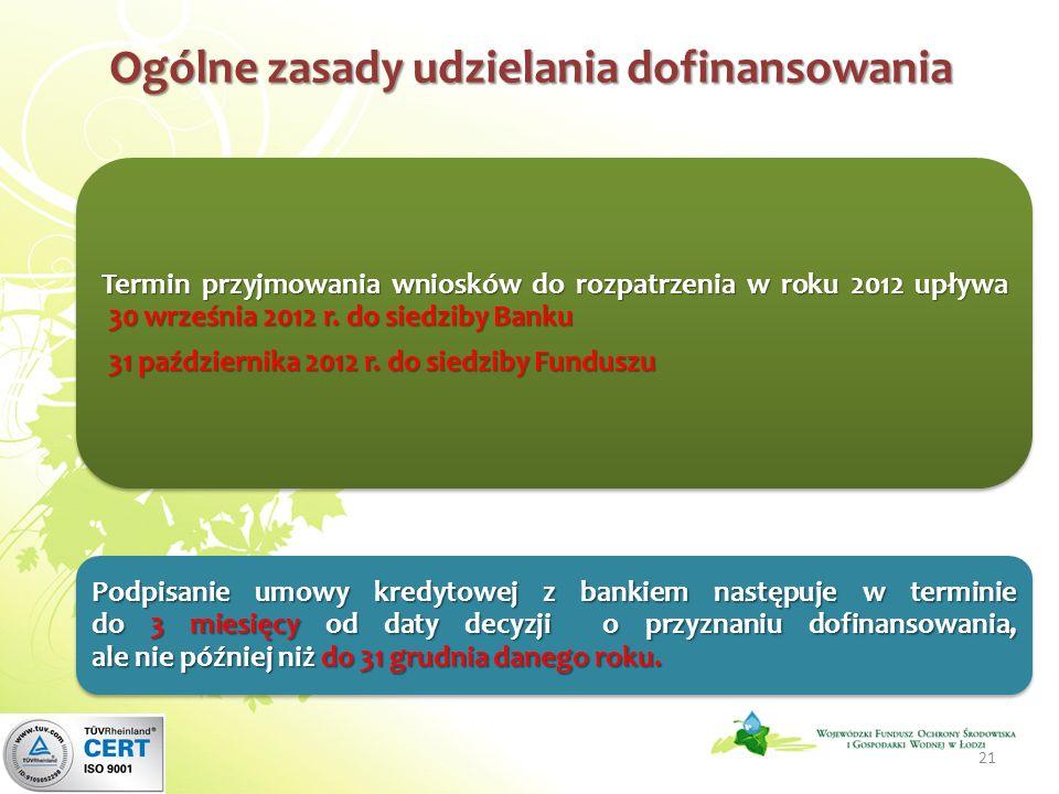 Ogólne zasady udzielania dofinansowania Termin przyjmowania wniosków do rozpatrzenia w roku 2012 upływa 30 września 2012 r.