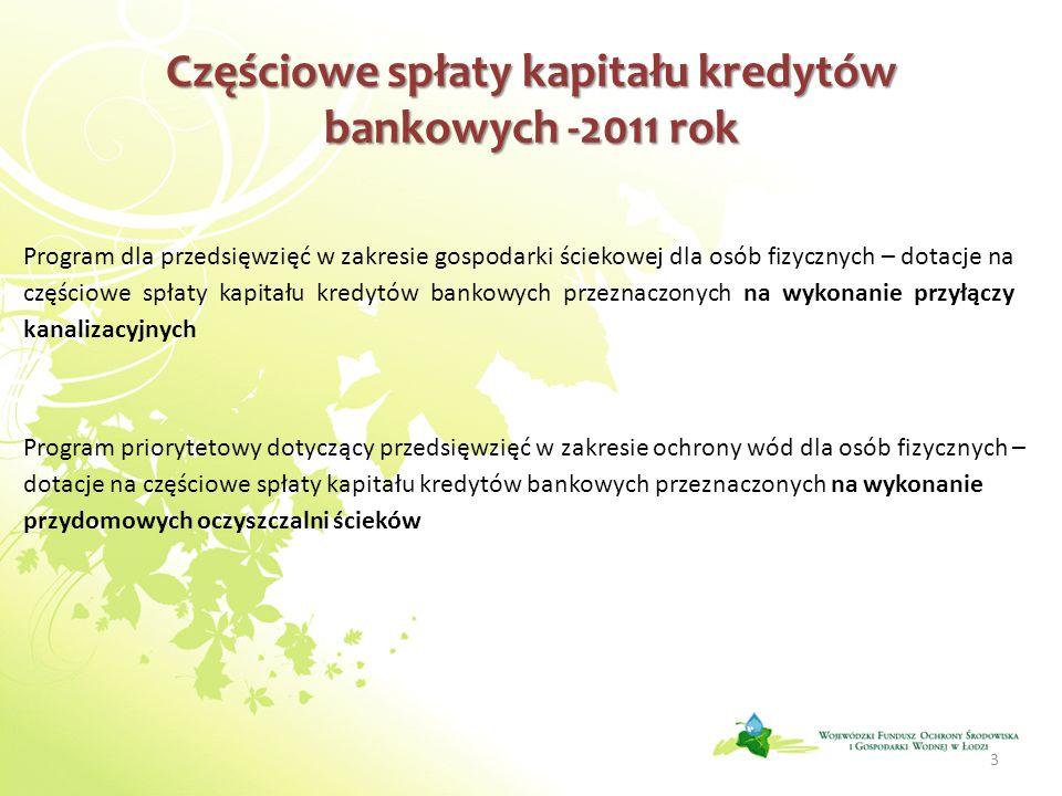 Częściowe spłaty kapitału kredytów bankowych -2011 rok 3 Program dla przedsięwzięć w zakresie gospodarki ściekowej dla osób fizycznych – dotacje na częściowe spłaty kapitału kredytów bankowych przeznaczonych na wykonanie przyłączy kanalizacyjnych Program priorytetowy dotyczący przedsięwzięć w zakresie ochrony wód dla osób fizycznych – dotacje na częściowe spłaty kapitału kredytów bankowych przeznaczonych na wykonanie przydomowych oczyszczalni ścieków