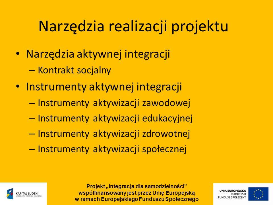 Projekt Integracja dla samodzielności współfinansowany jest przez Unię Europejską w ramach Europejskiego Funduszu Społecznego Narzędzia aktywnej integracji – Kontrakt socjalny Instrumenty aktywnej integracji – Instrumenty aktywizacji zawodowej – Instrumenty aktywizacji edukacyjnej – Instrumenty aktywizacji zdrowotnej – Instrumenty aktywizacji społecznej Narzędzia realizacji projektu
