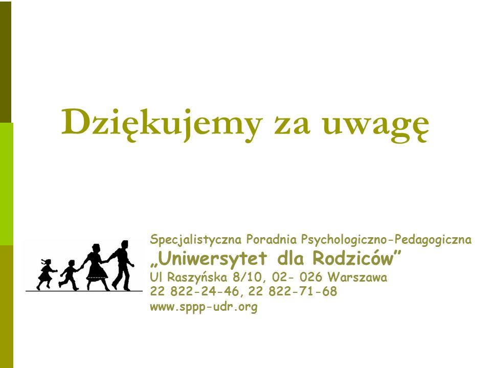 Dziękujemy za uwagę Specjalistyczna Poradnia Psychologiczno-Pedagogiczna Uniwersytet dla Rodziców Ul Raszyńska 8/10, 02- 026 Warszawa 22 822-24-46, 22 822-71-68 www.sppp-udr.org