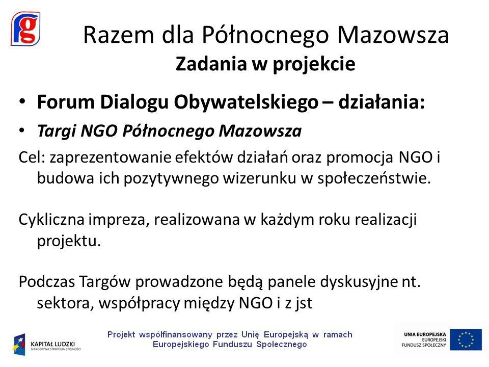 Forum Dialogu Obywatelskiego – działania: Targi NGO Północnego Mazowsza Cel: zaprezentowanie efektów działań oraz promocja NGO i budowa ich pozytywnego wizerunku w społeczeństwie.