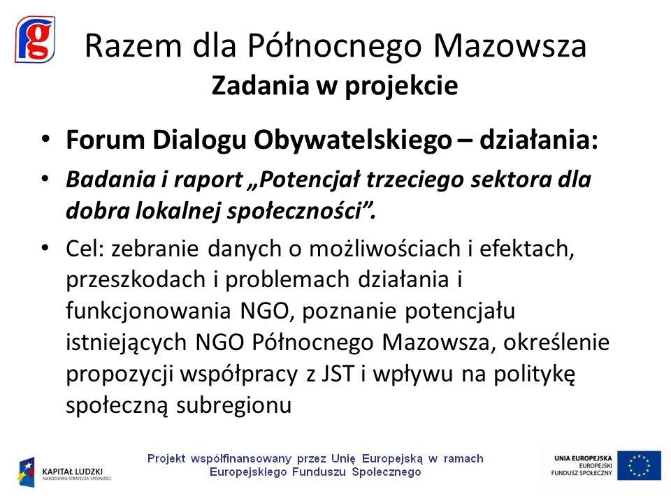 Forum Dialogu Obywatelskiego – działania: Badania i raport Potencjał trzeciego sektora dla dobra lokalnej społeczności. Cel: zebranie danych o możliwo