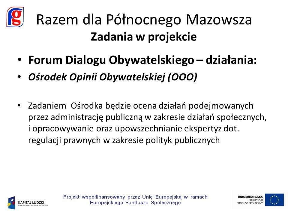 Forum Dialogu Obywatelskiego – działania: Portal internetowy FDO Narzędzia portalu: źródło informacji o projekcie i najważniejszych wydarzeniach z życia NGO Północnego Mazowsza.