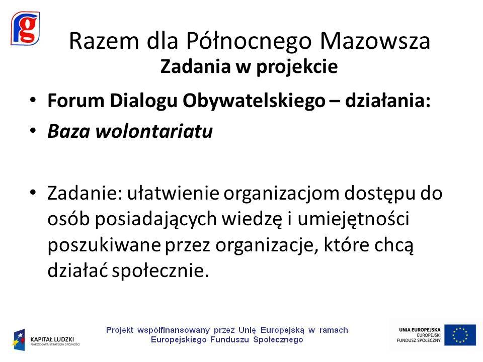 Forum Dialogu Obywatelskiego – działania: Baza wolontariatu Zadanie: ułatwienie organizacjom dostępu do osób posiadających wiedzę i umiejętności poszukiwane przez organizacje, które chcą działać społecznie.