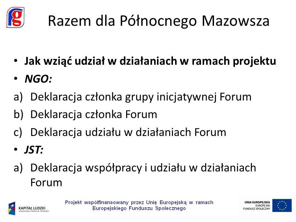 Jak wziąć udział w działaniach w ramach projektu NGO: a)Deklaracja członka grupy inicjatywnej Forum b)Deklaracja członka Forum c)Deklaracja udziału w