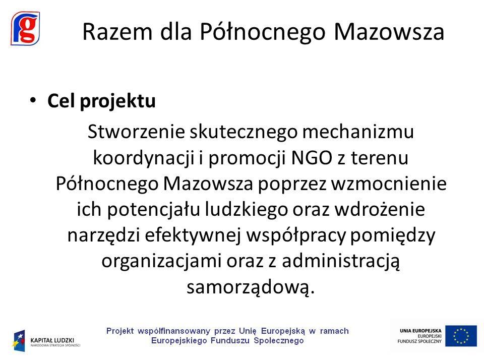 Cel projektu Stworzenie skutecznego mechanizmu koordynacji i promocji NGO z terenu Północnego Mazowsza poprzez wzmocnienie ich potencjału ludzkiego oraz wdrożenie narzędzi efektywnej współpracy pomiędzy organizacjami oraz z administracją samorządową.