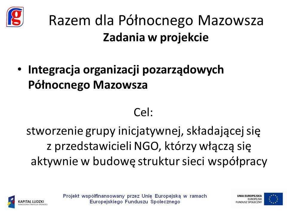 Integracja organizacji pozarządowych Północnego Mazowsza Cel: stworzenie grupy inicjatywnej, składającej się z przedstawicieli NGO, którzy włączą się