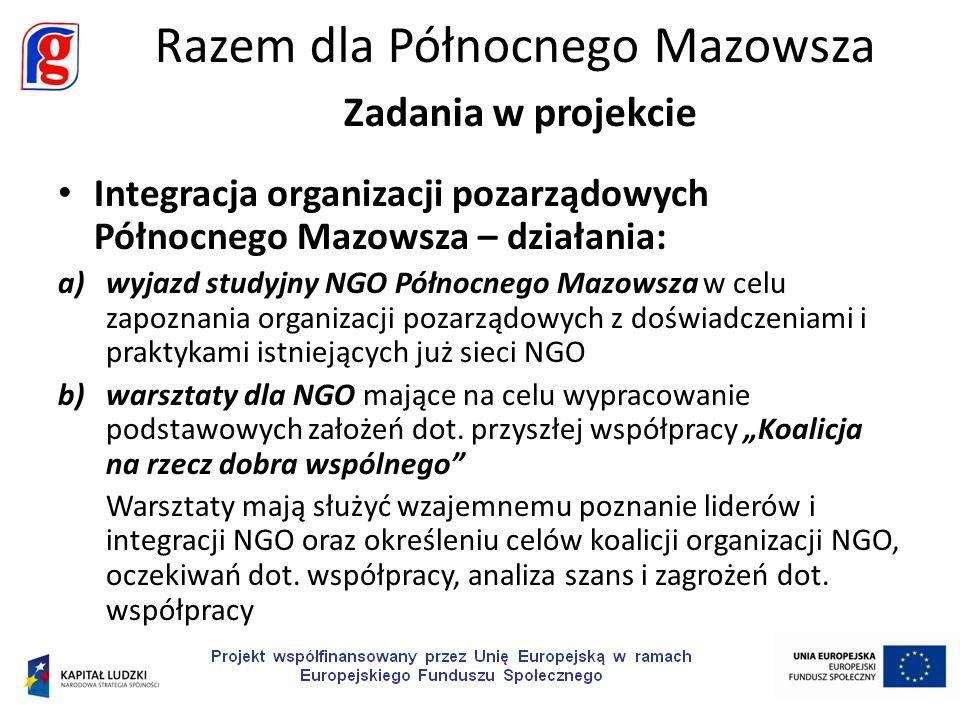 Integracja organizacji pozarządowych Północnego Mazowsza – działania: a)wyjazd studyjny NGO Północnego Mazowsza w celu zapoznania organizacji pozarządowych z doświadczeniami i praktykami istniejących już sieci NGO b)warsztaty dla NGO mające na celu wypracowanie podstawowych założeń dot.
