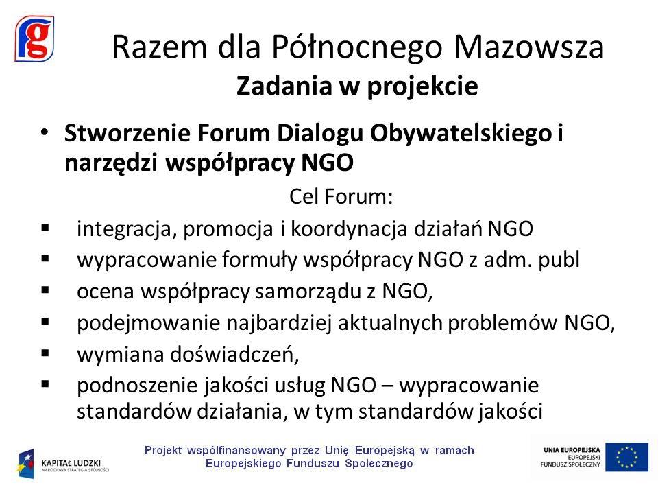 Stworzenie Forum Dialogu Obywatelskiego i narzędzi współpracy NGO Cel Forum: integracja, promocja i koordynacja działań NGO wypracowanie formuły współ
