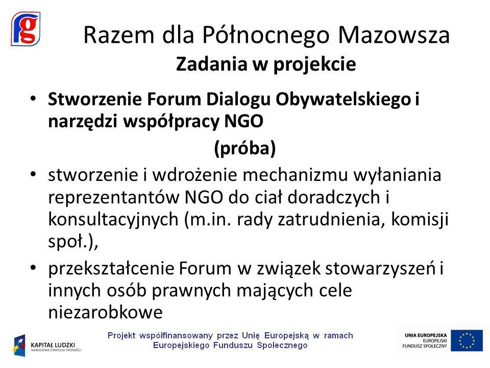 Stworzenie Forum Dialogu Obywatelskiego i narzędzi współpracy NGO (próba) stworzenie i wdrożenie mechanizmu wyłaniania reprezentantów NGO do ciał doradczych i konsultacyjnych (m.in.