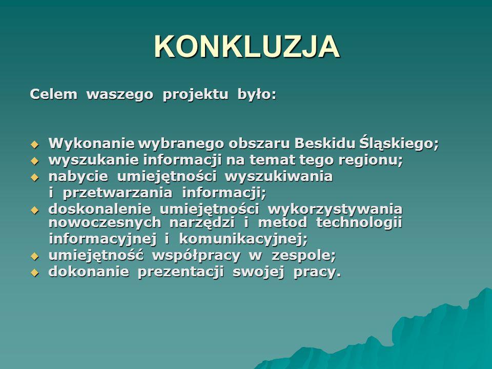 KONKLUZJA Celem waszego projektu było: Wykonanie wybranego obszaru Beskidu Śląskiego; Wykonanie wybranego obszaru Beskidu Śląskiego; wyszukanie inform